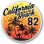 California Malibu Beach 1982 Surfer Surfing Design Vinyl Car Sticker Decal  95x95mm